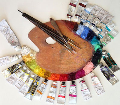 картинка масляные краски на палитре